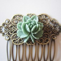 Jade Green Bloom Hair Comb by BigBisous on Etsy