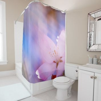 Pink cherry blossom shower curtain