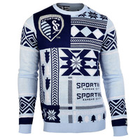 Sporting Kansas City Forever Collectibles KLEW Patches Ugly Sweater Size XXL w/ Priority Shipping