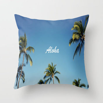 Aloha Palm Trees Throw Pillow by Bree Madden  | Society6