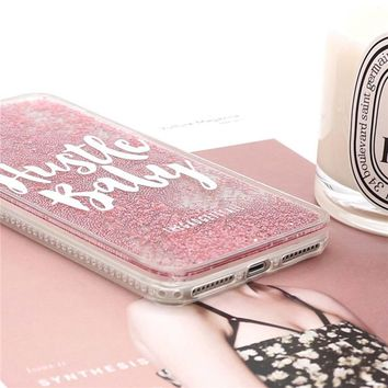 Hustle Baby Pink Quicksand Glitter Phone Covers For iPhone 6 7 8 Plus Liquid Case For iPhone 6s
