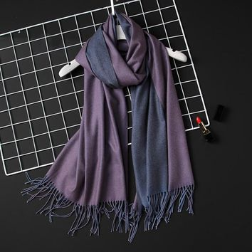 Design 2018 new winter women scarf fashion solid double-side soft cashmere scarves shawl and wraps bandana female foulard Tassel
