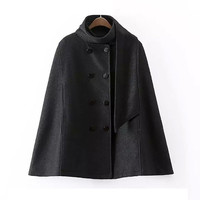 Black Double Breast Cape Coat