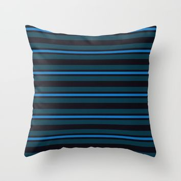 horizontal line with variations in blue Throw Pillow by Berwies