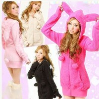 Womens Casual Cute sexy Lolita Fluffy Balls Bunny Ears Sherpa Warm Thicken Hoodie Outerwear Coat top Jacket Sweatshirts-in Basic Jackets from Women's Clothing & Accessories on Aliexpress.com | Alibaba Group