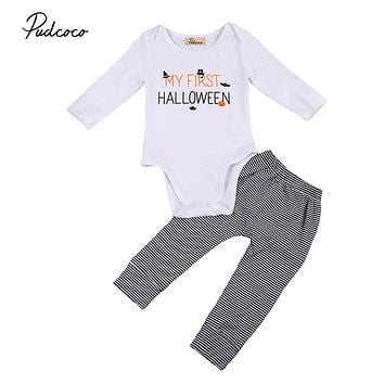 Halloween Pumpkin Baby Clothes Set Newborn Baby Boy Girl Long Sleeve Romper Tops Striped Pants Leggings 2pcs Autumn Outfits