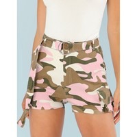 Camo Print Belted Cargo Shorts