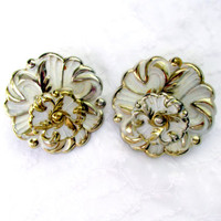 Shabby Chic Large Floral Drawer Handles Set Of Two White Metal Gold Trim Cottage Decor Vintage Collectible Gift Item 2140F