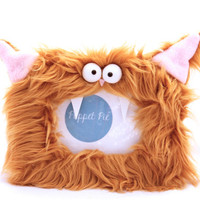 Furry Cat Picture Frame With Teeth in Tan