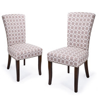 Light Brown Floral Living Room Side Chairs / Dining Chair with Birch Legs (Set of 2)