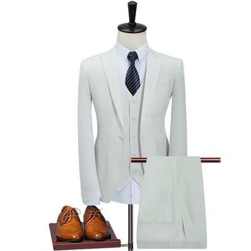 Khaki/White 3 Piece Suit Men Business Men's Suits Designers Slim Fit Wedding Suits For Men