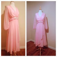 Pink Flowy Gown 1970s Belted Boho Semi Sheer Pink Glamorous Dress Bridesmaid Mother of the Bride size Large