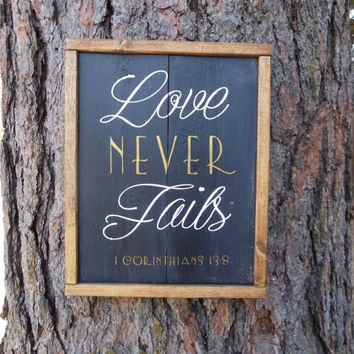 "Joyful Island Creations ""Love never fails"" wood sign, love signs, black and gold sign, black and white sign, gift under 30"