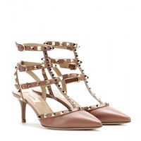 valentino - rockstud leather kitten-heel pumps
