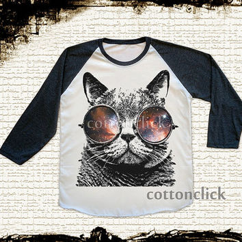 S, M, L - CAT GLASSES Shirts Cat Galaxy Shirts Cat Shirts Animal Shirts Baseball Tee Jersey Raglan Long Sleeve Unisex Shirts Women Shirts