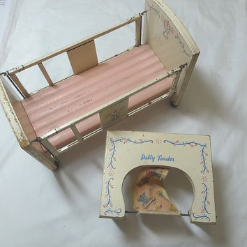 1950s Vintage Wood Doll Baby Bed Crib and Chair, Dolly Tender, Painted Wood & Graphics, Movable Rails on Bed, Vintage Doll Furniture