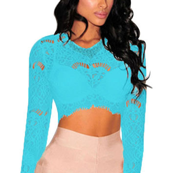 Blue Sheer Lace Long Sleeves Crop Top