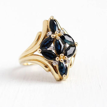 Estate Sapphire Ring - 10k Yellow Gold Genuine Dark Blue Gem & Diamond Statement - Size 6 3/4 Marquise Cut September Birthstone Fine Jewelry