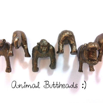 FRIDGE MAGNETS - Handmade Animal Butt-head Magnets - 6 piece set - Leopard, Gorilla, and Hippo - Classic Bronze