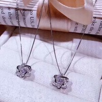 Fashion New Diamond Star Personality Sterling Silver Womne Necklace Silver