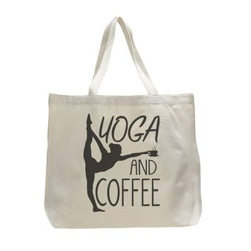 Yoga And Coffee - Trendy Natural Canvas Bag - Funny and Unique - Tote Bag