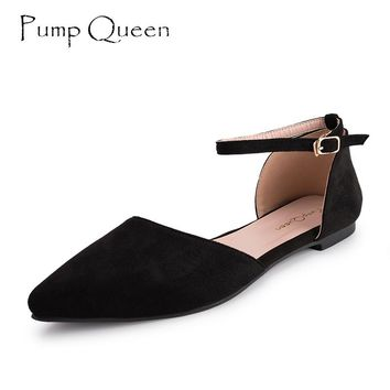 Women Flats Shoes Black 2018 Spring Autumn Ankle Strap Shoes for Woman Mary Jane Good Match With Dresses Pants Plus Size 40