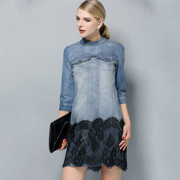 2015 Woman's Fahison  Summer Denim Dress Half Sleeve Stand Blue Casual Vestido Female Cowboys Dresses Lace Patchwork Slim Dress