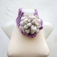 Removeable Brooch Pin -Cowl- Hand Knitted Neck Warmer  - Women  Winter  Accessories Lilac Cream