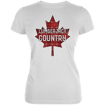 Canada Day Lumberjack Country Plaid Juniors Soft T Shirt