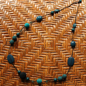 Unique Vintage Boho Hippie Blue Beaded Necklace