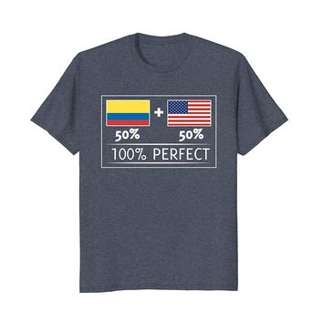 50% COLOMBIA 50% USA Flags 100% Perfect Tee for Colombians