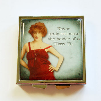 Funny pill case, Square Pill case, Funny pill box, Pill Case, Pill Box, 4 Sections, Hissy Fit, Humor, Pill container, retro (4363)