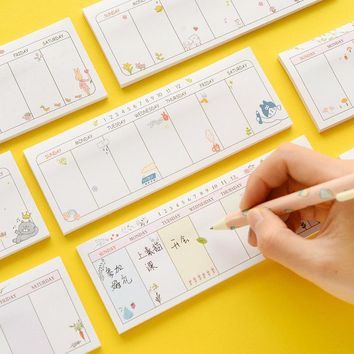 16 pcs/Lot Mini week planner stickers Kawaii animal flower sticky notes Posted agenda Stationery Office Escolar Papelaria
