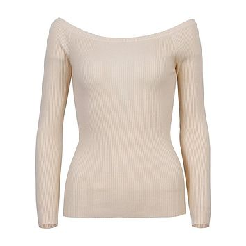 Wixra Warm and Charm Off Shoulder Knitted Sweater Women Autumn Elegant Jumper