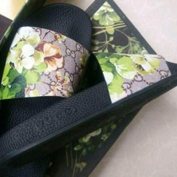 ❤shosouvenir❤ Gucci Casual Fashion Women Floral Print Sandal Slipper Shoes