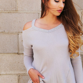 Cold Shoulder Knit - Light Gray