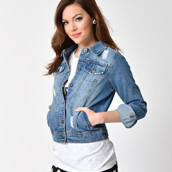 Retro Style Long Sleeve Medium Wash Button Up Denim Jacket