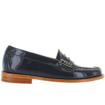 CREYONIG Bass Weejuns Whitney - Navy Patent Leather Classic Penny Loafer