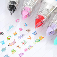 Animal Decoration Tape owl cats dogs alphabet monster deco pen tape lovely pen taper tumbler Correction Tape roly-poly deco planner taper
