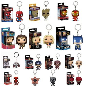 FUNKO POP Pocket Pop Keychain Official Wonder Woman Black Panther Iron Man Dragon Action Figure Collectible Model Christmas Toy