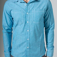 {In Vino Veritas} LA-Made Chambray Shirt in Heather Turquoise