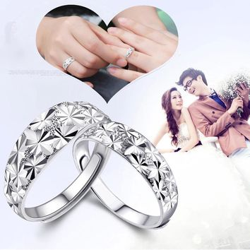 New Fashion Adjustable Ring Jewelry Silver Womens Charm Couple Ring Gift