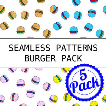 Seamless Patterns JPG Files - Burger Pack - Digital Scrapbook Paper Pack