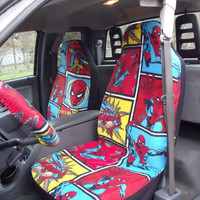 1 Set Of Spider Man Comic Book Print Seat  Covers and  1 Piece pf Steeling Wheel Cover Custom Made