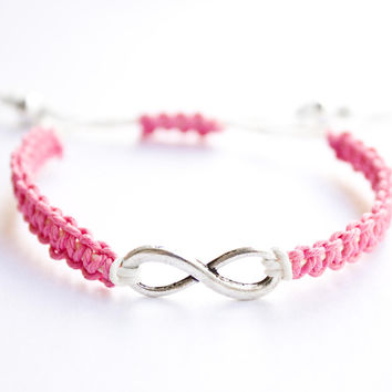 Infinity Bracelet Pink and White Hemp or Cotton Cord