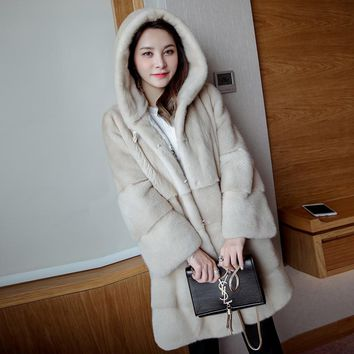 2017 winter new mink coat female models the mink band cap in the long section of imported mink Haining fur coat female