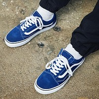 Vans Stylish Simple Leisure Canvas Old Skool Flats Sneakers Sport Shoes Sapphire Blue I