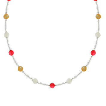 Sterling Silver Mother of Pearl, Bamboo, & Pink Coral Bar and Bead Necklace