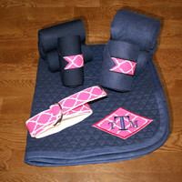 Pony Full Set - Navy with Fuchsia Quatrefoil Diamond Monogram