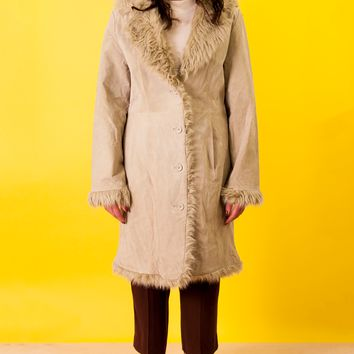 Suede Coat with Fur Trim